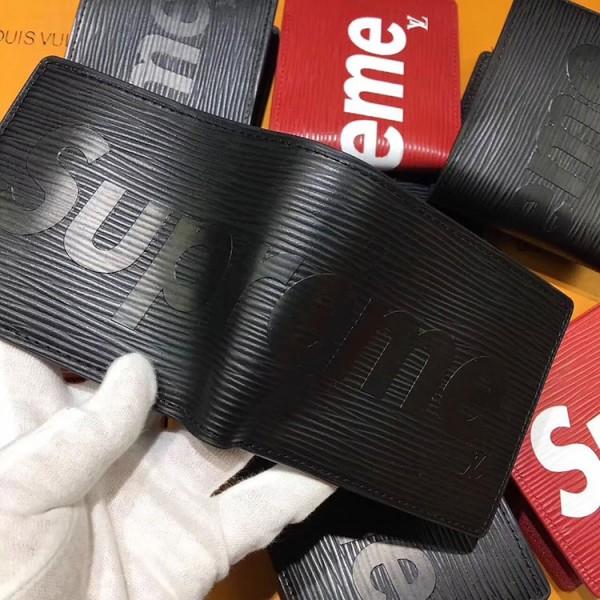supreme 二つ折り財布 コピー 赤色 黒色 シュプリーム ルイヴィトン コラボ ウォレット 高級PU材料製  男女兼用 若者向け カード入れ
