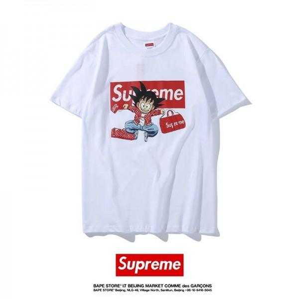 シュプリーム/supreme 孫悟空 Tシャツ コピー ホワイト ブラック 可愛い ドラゴンボール 可愛い 悟空 パロディ風 Tシャツ 男女兼用 着る心地良い 送料無料 夏季 涼しい