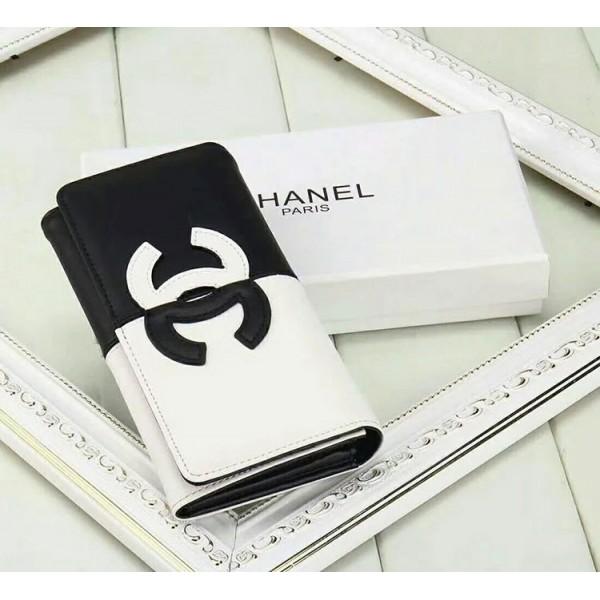 シャネル 三つ折り財布 CHANEL 長財布 コピー 縦開き ファスナー付き カード入れ 小銭入れ 携帯入れ 白&黒 元素融合 高品質 女性向け