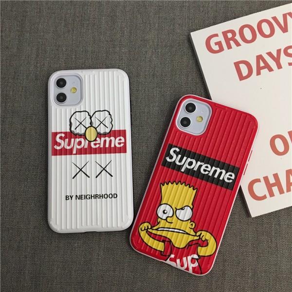 supreme シュプリーム iphone12/11/11pro/11pro maxケース キャラクターKAWSシンプソン付き iphone xr/xs  maxケースボックスロゴ アイフォン se2/x/8/7 plusカバージャケット潮流人気 送料無料