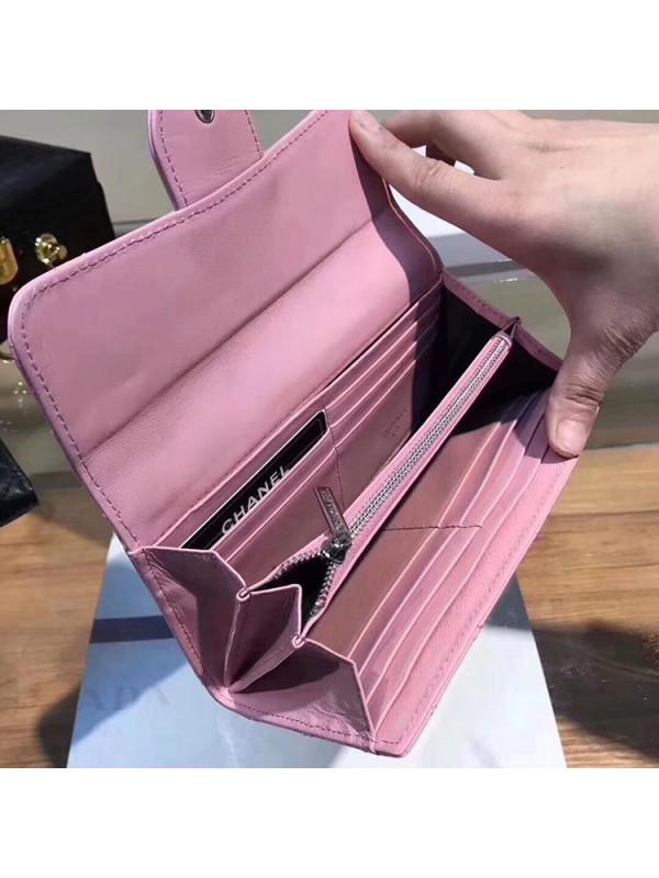chanel キルティング キャビアスキン 長財布コピー レディース ペア 黒色 ピンク 二つ折り財布 縦開き 留め具  カード入れ 携帯入れ 小銭入れ