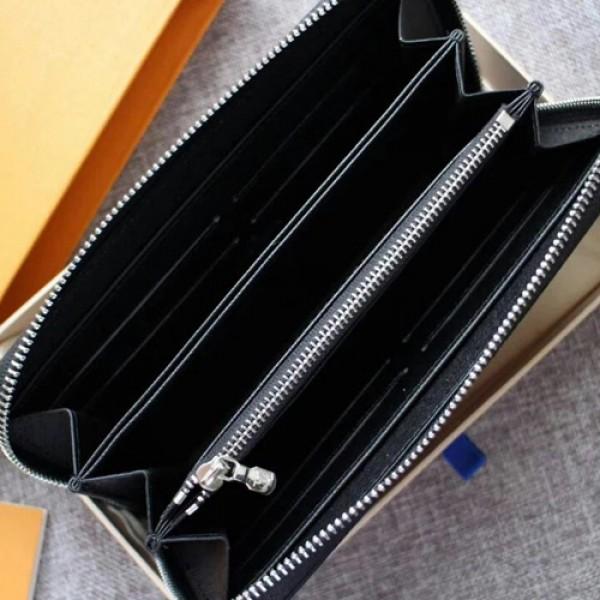 ブランド LV Vivienne 限定BRAZZA 大きな レッド ロゴ 長財布 ブラック ラウンドファスナー   ルイヴィトン モノグラムメンズ 財布