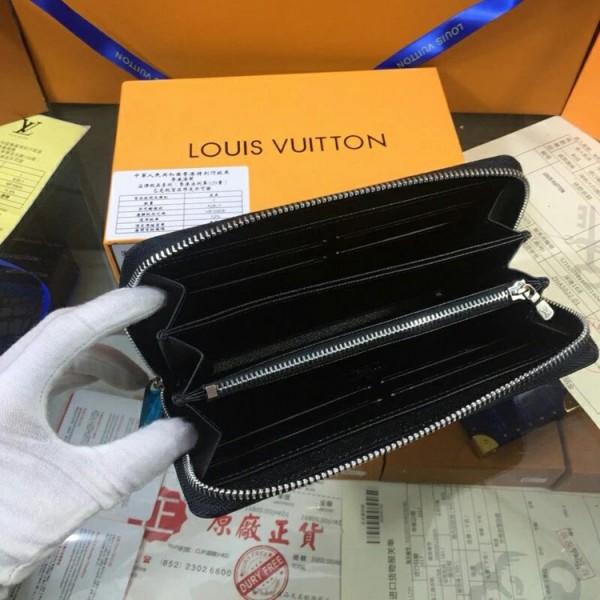 LVルイヴィトン モノグラム Brazza ラウンドファスナー 長財布 メンズ ホワイト&ブラック 2018年 Split シリーズ lv ロングウォレット 彼氏プレゼント