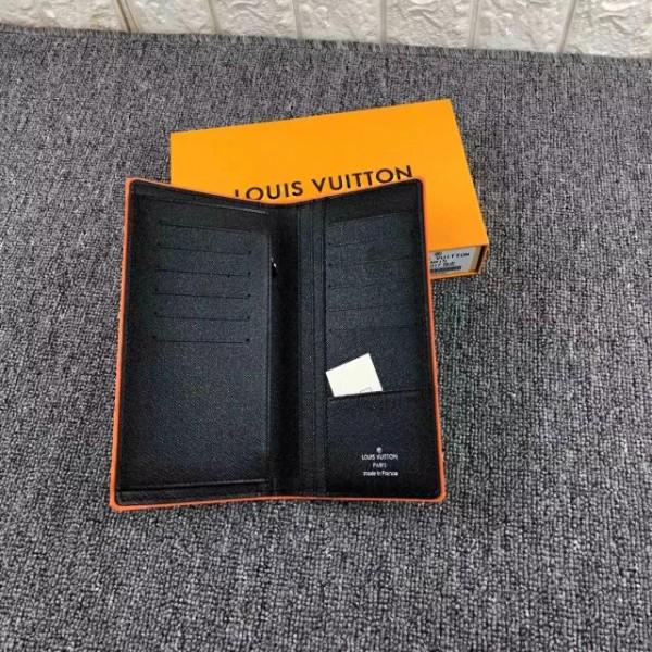 lvルイヴィトン ダミエ 長財布 ブラック オレンジ枠 2019年新品 二つ折り カード入れ カーフスキンー 送料無料 男性向け