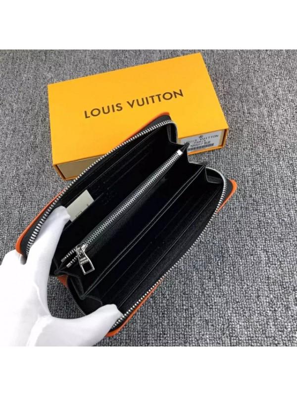 Lvルイヴィトン ダミエ 長財布 ラウンドファスナー ブラック オレンジ枠 2019年新品 二つ折り カード入れ カーフスキンー 送料無料 男性向け