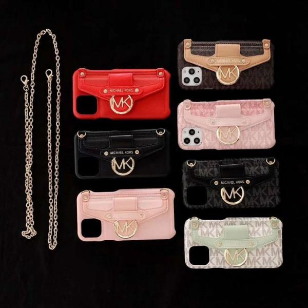 MK/マイケルコースiphone 12/12mini/12 pro/12 pro maxケース チェーンつき iphone 11/11 pro/11 pro max xs/8/7 plusカバー メンズ レディースセレブ愛用 ハイブランドケース パロディ